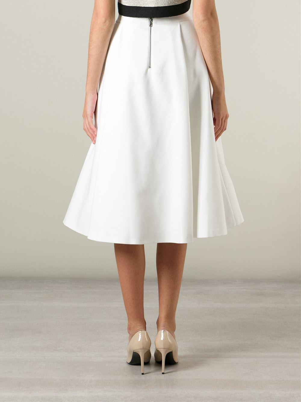 510c17dd9 Alice + Olivia Box Pleat Midi Skirt in White - Lyst