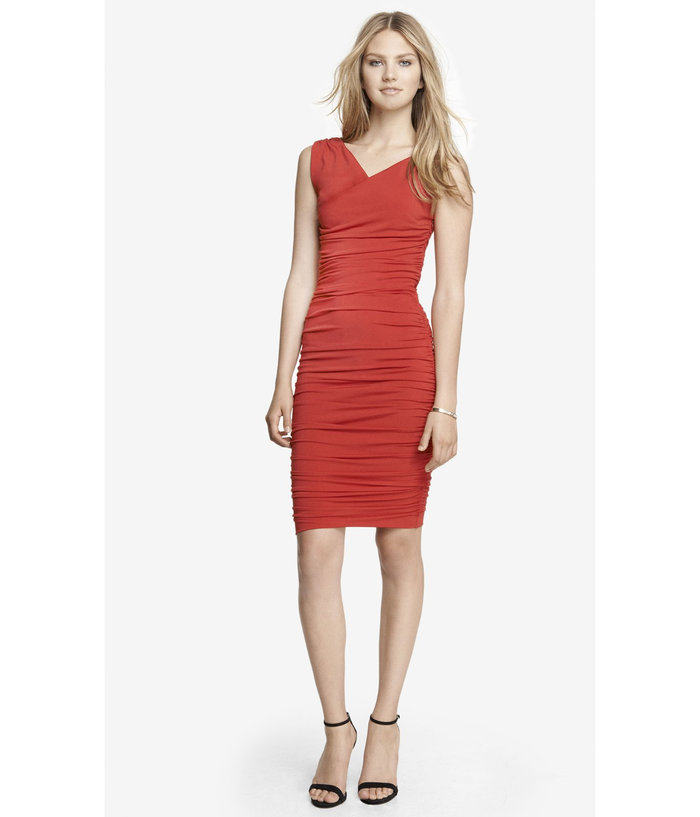 Express Red Surplice Wrap Ruched Jersey Midi Dress Lyst