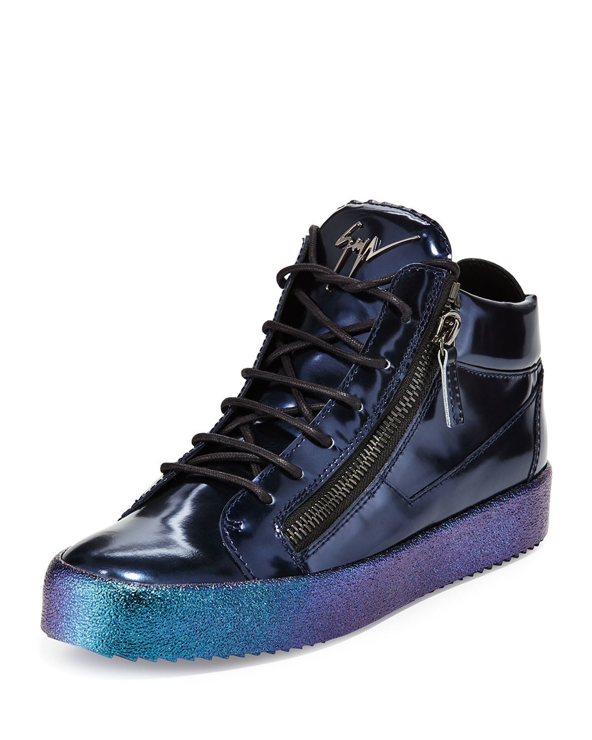 giuseppe zanotti mid top leather sneaker with ombre sole in blue lyst. Black Bedroom Furniture Sets. Home Design Ideas