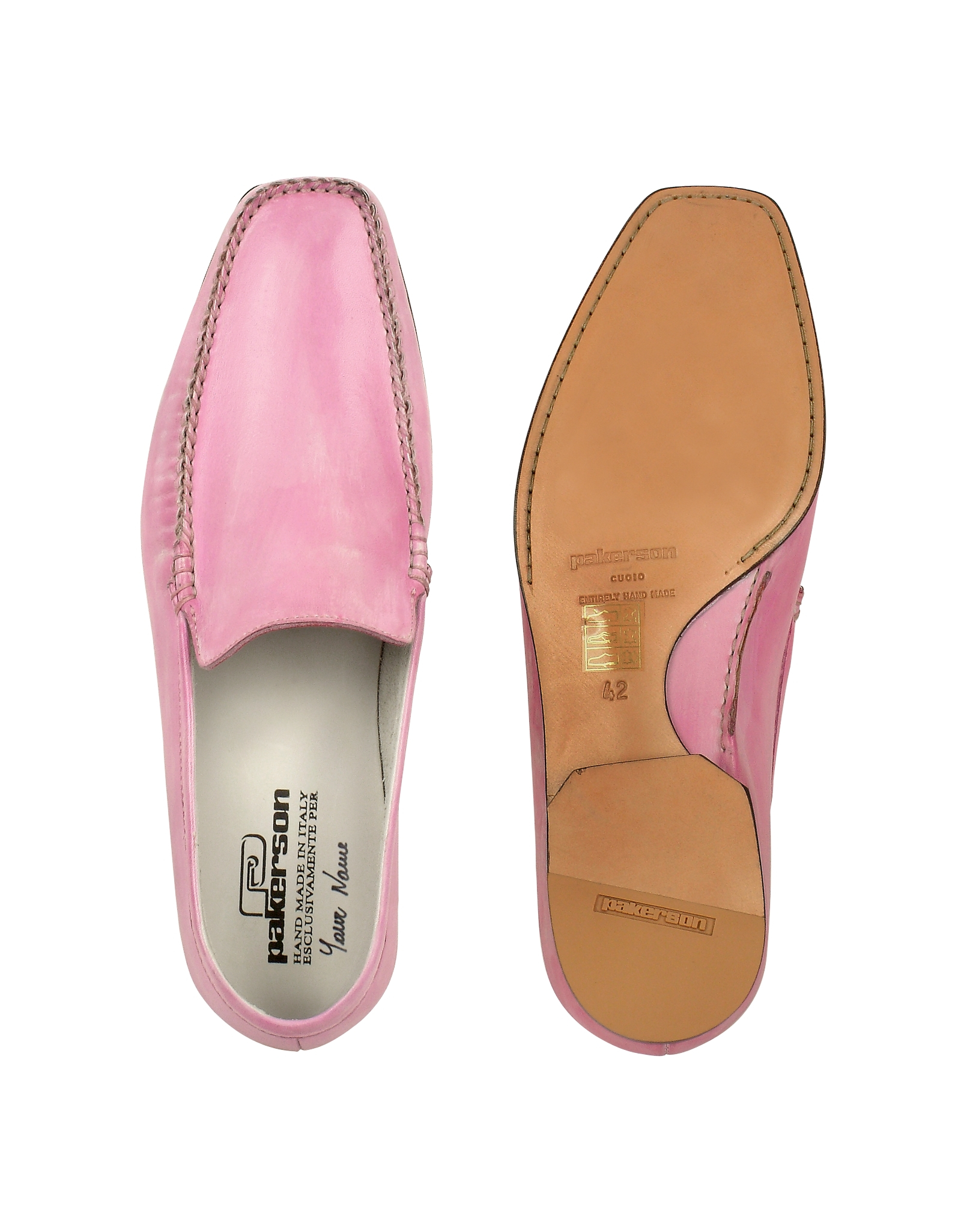 pakerson pink italian handmade leather loafer shoes in