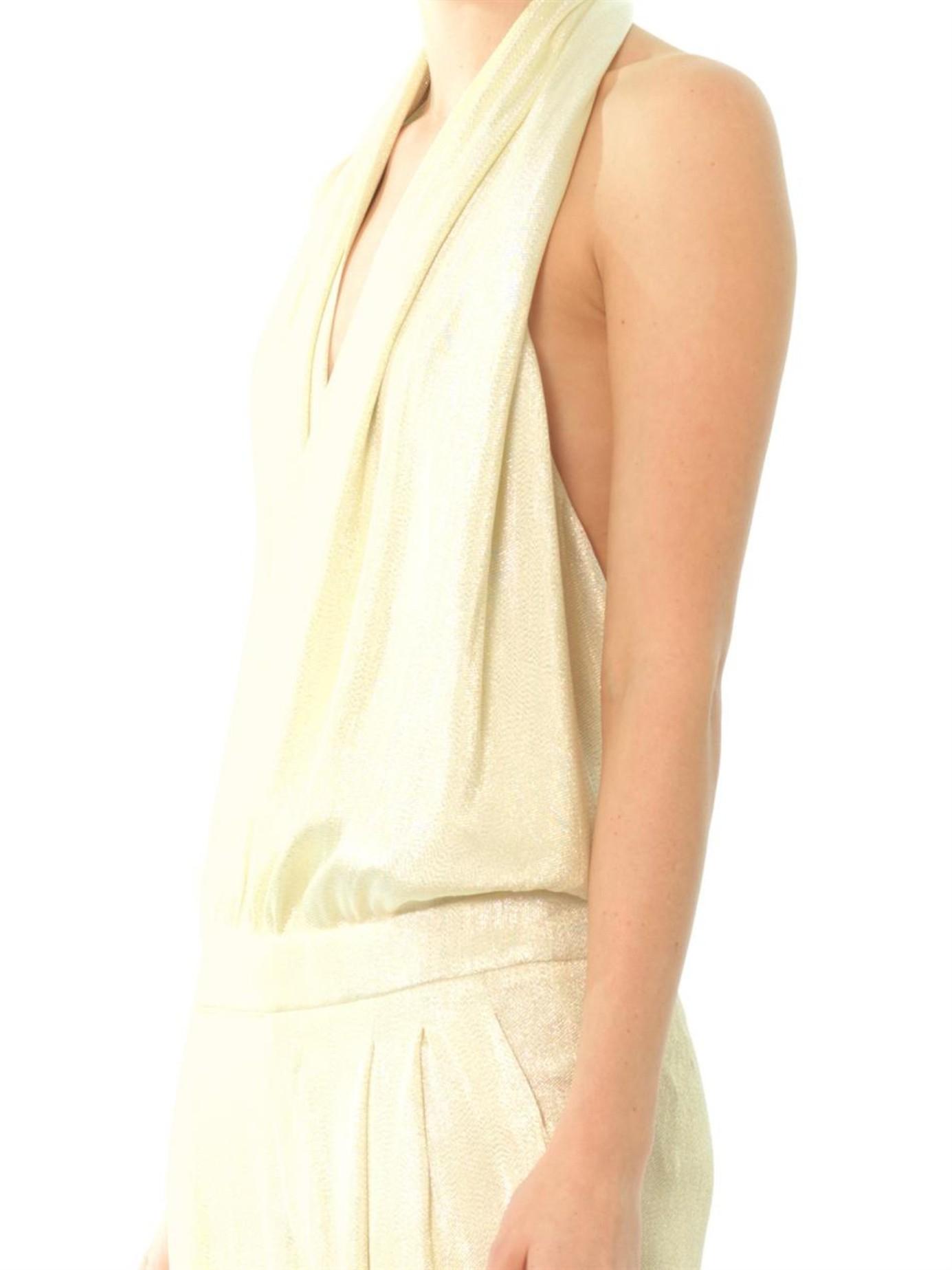 044a738d498 Gucci Liquid Lamé Jumpsuit in White - Lyst