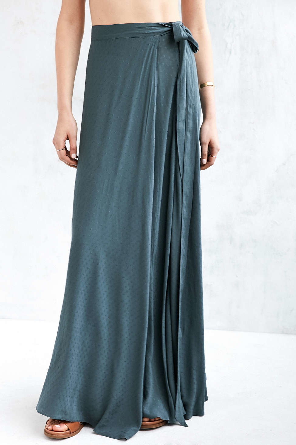 lyst ecote zella boho wrap maxi skirt in blue