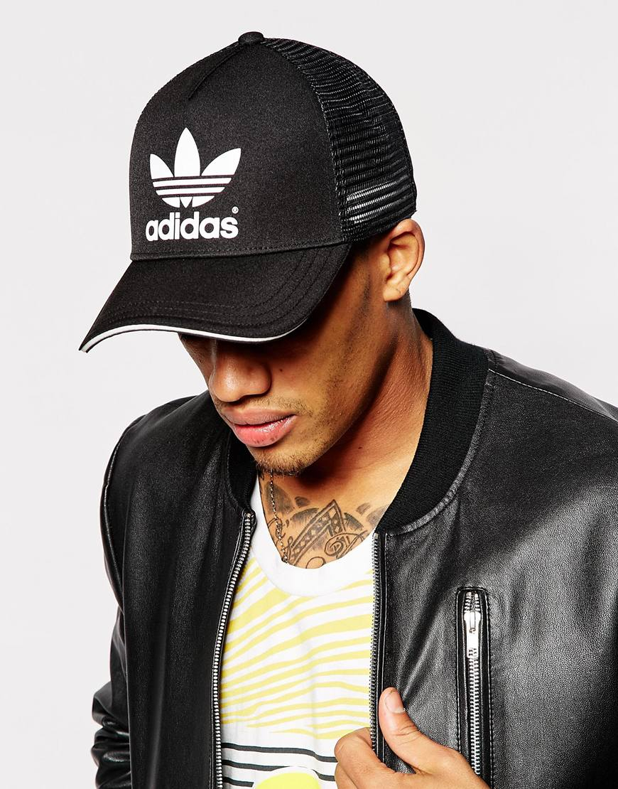 Adidas originals Trucker Cap in Black for Men | Lyst