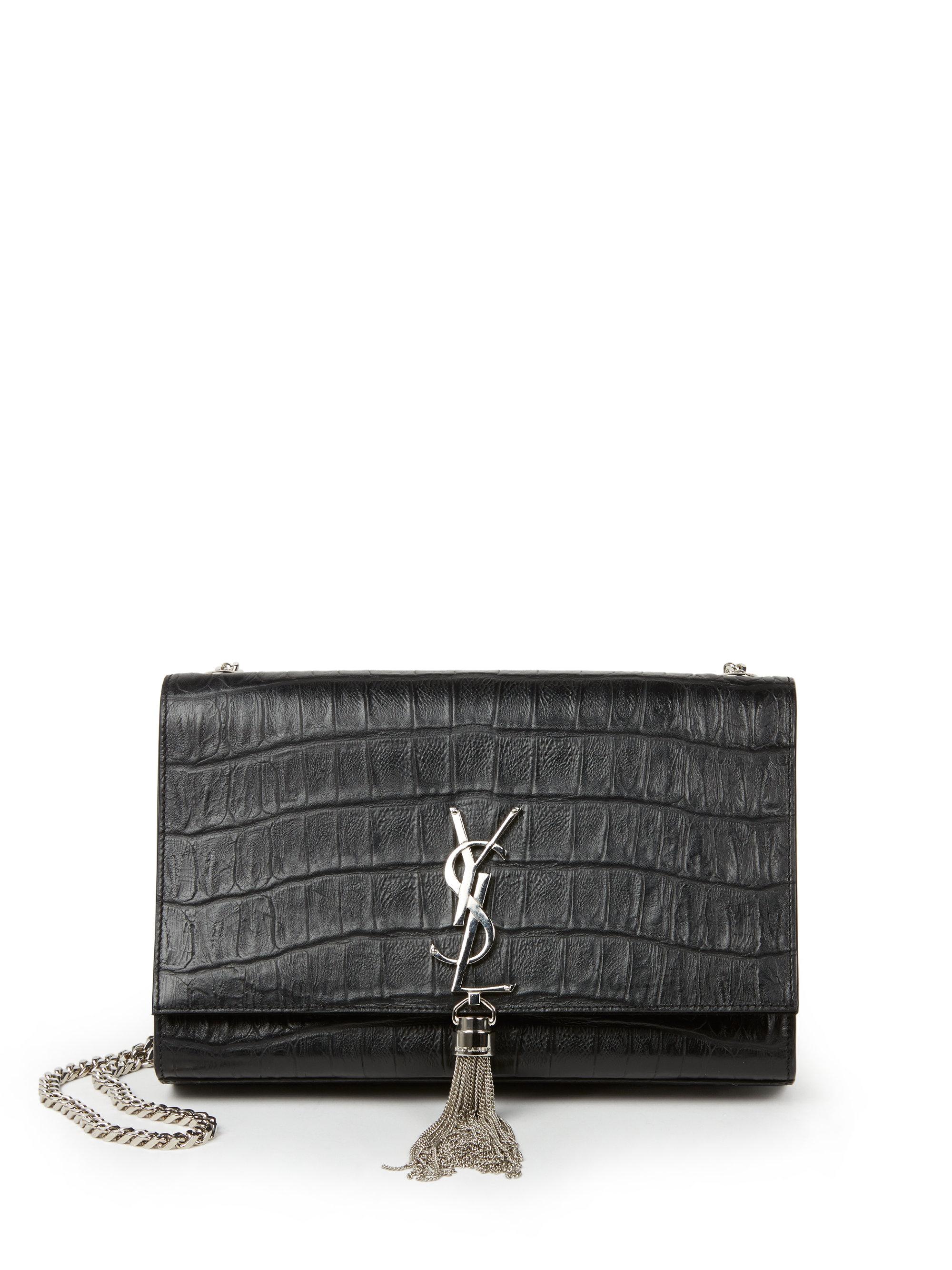 Lyst - Saint Laurent Monogram Medium Crocodile-embossed Leather ... 57c2b94bfb