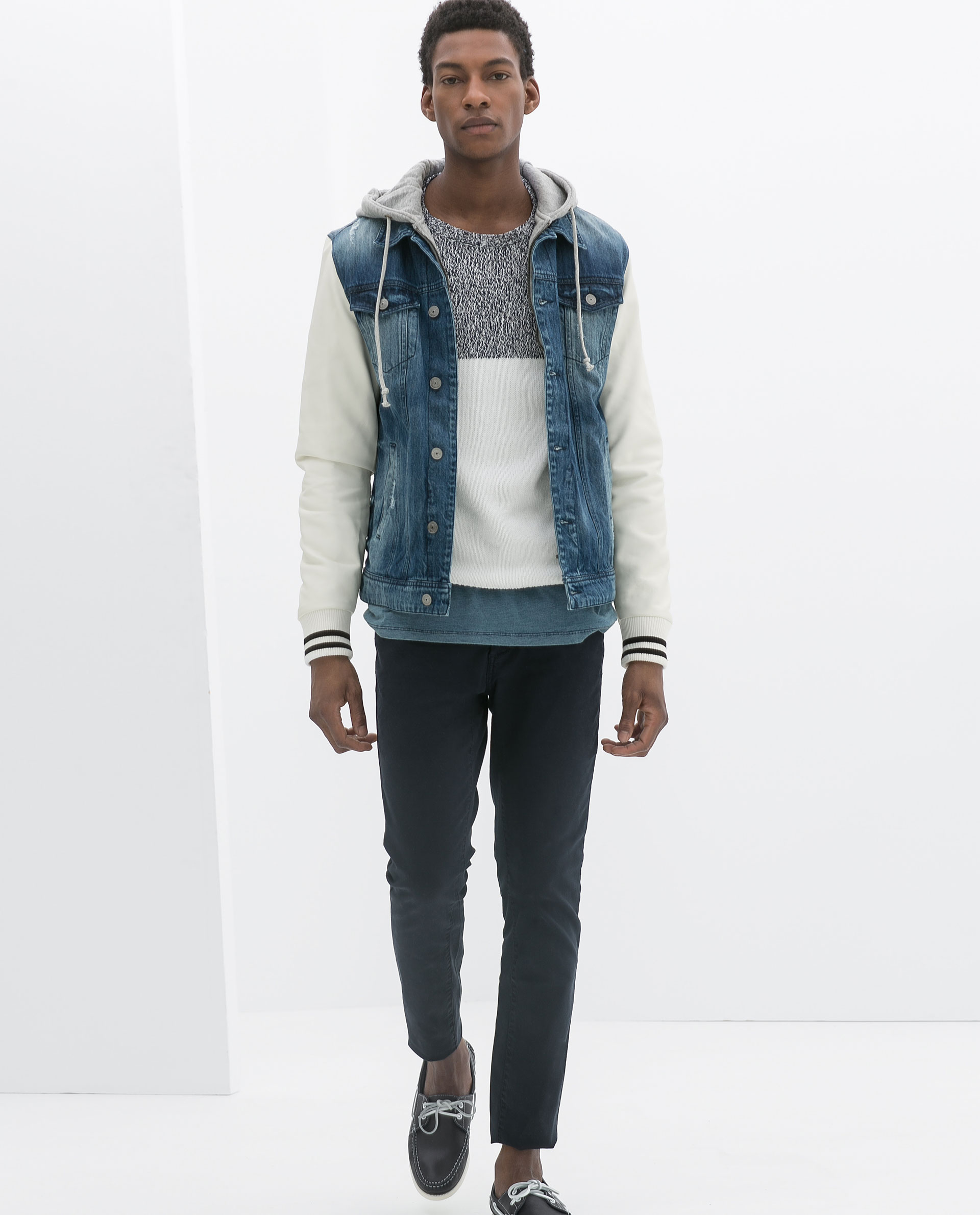 Denim Jacket With Grey Sleeves And Hood
