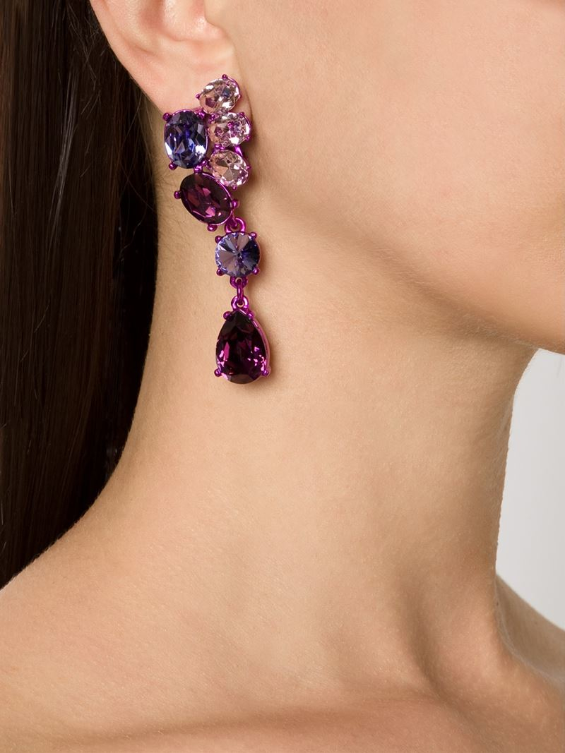 6ecc5fe28e45 Lyst - Oscar de la Renta Asymmetric Crystal Clip Earrings in Purple