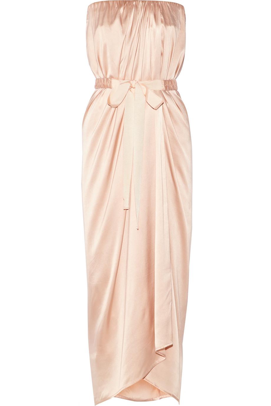 lyst day birger et mikkelsen sumner wrap effect silk satin gown in pink. Black Bedroom Furniture Sets. Home Design Ideas