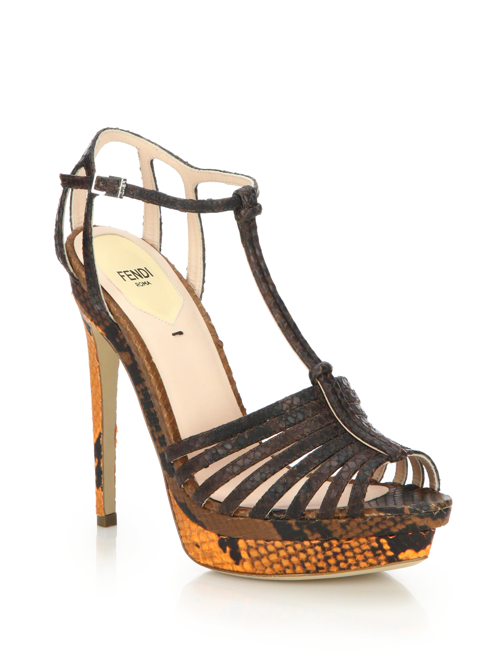 Fendi Embossed Leather Sandals cheap sale view free shipping new arrival eastbay for sale cWKjjVB