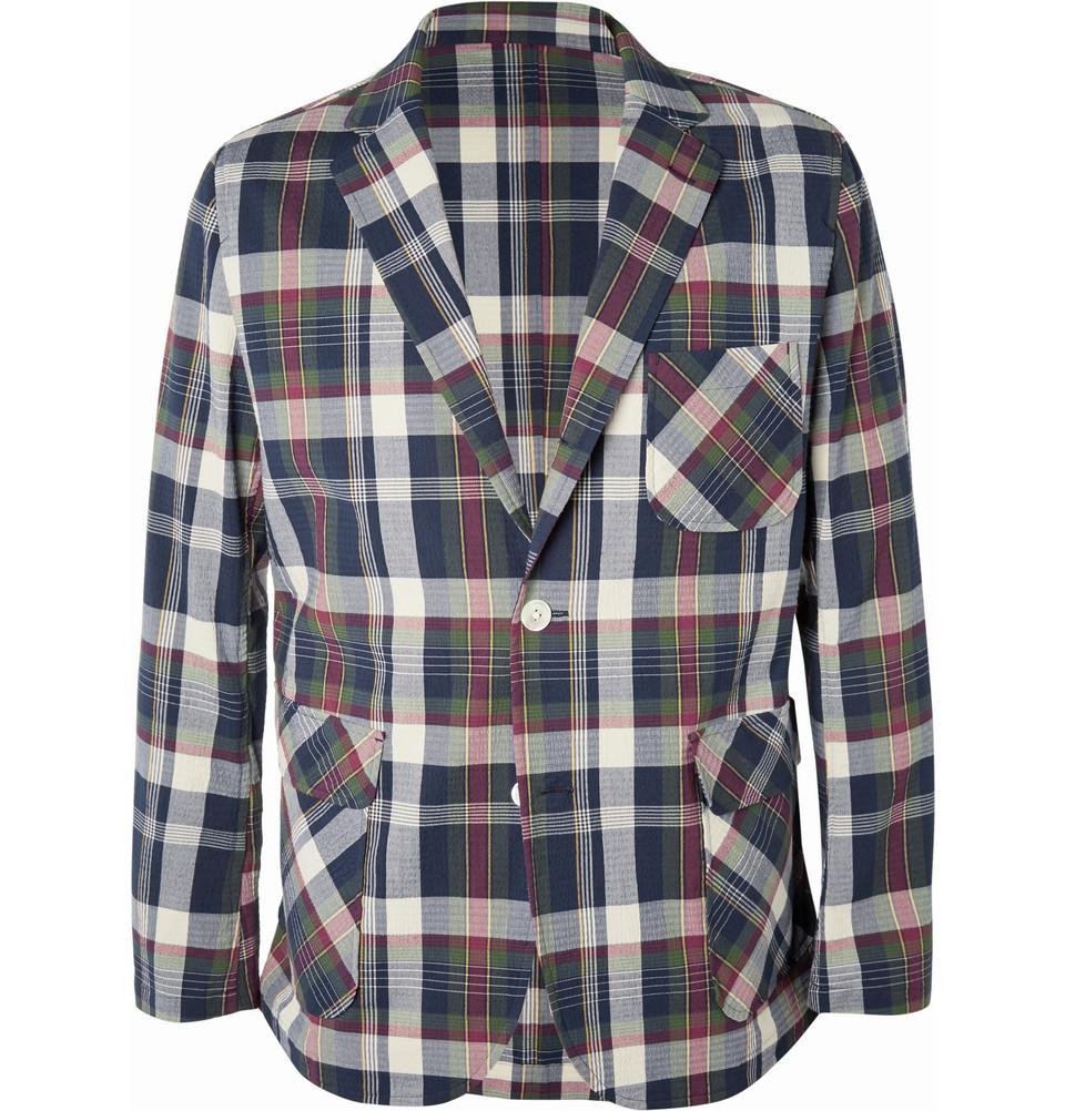 Beams Plus Cotton Blend Madras Seersucker Suit Jacket In