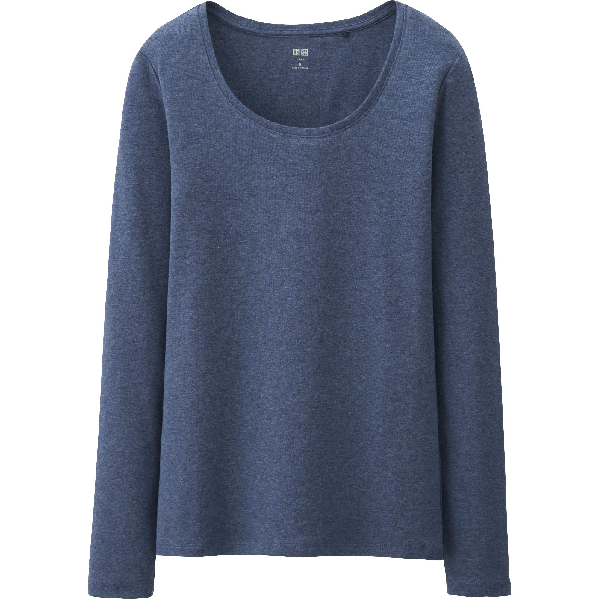 Uniqlo women supima cotton crew neck long sleeve t shirt for Women s crew t shirts