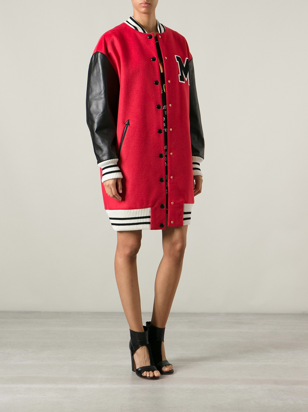 Moschino Varsity Bomber Jacket in Red | Lyst