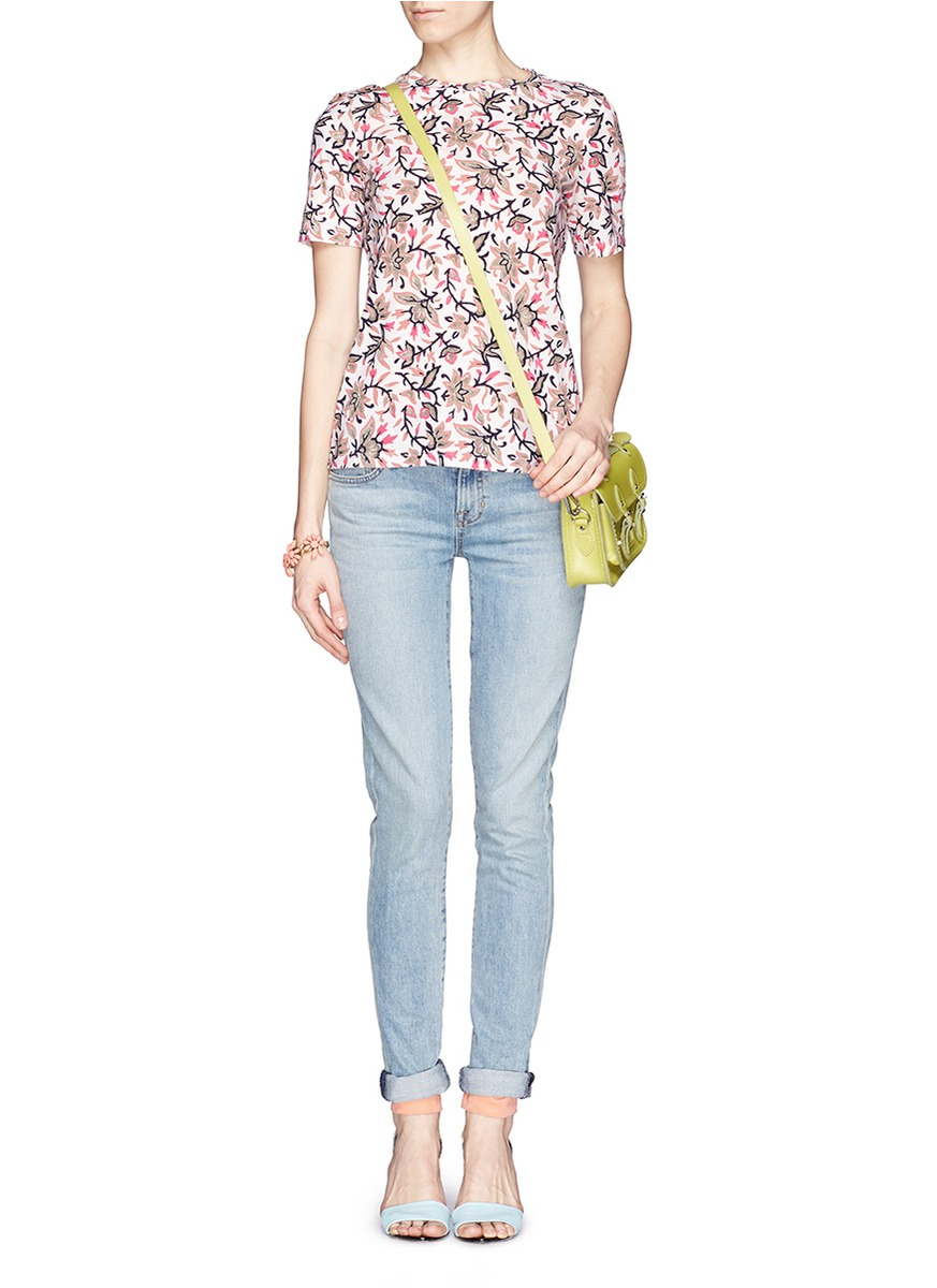 Tory burch 39 zoe 39 floral print jersey t shirt in white lyst for Tory burch t shirt