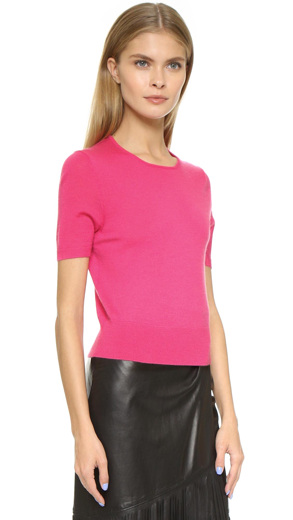 Tamara mellon Short Sleeve Cashmere Sweater in Pink | Lyst
