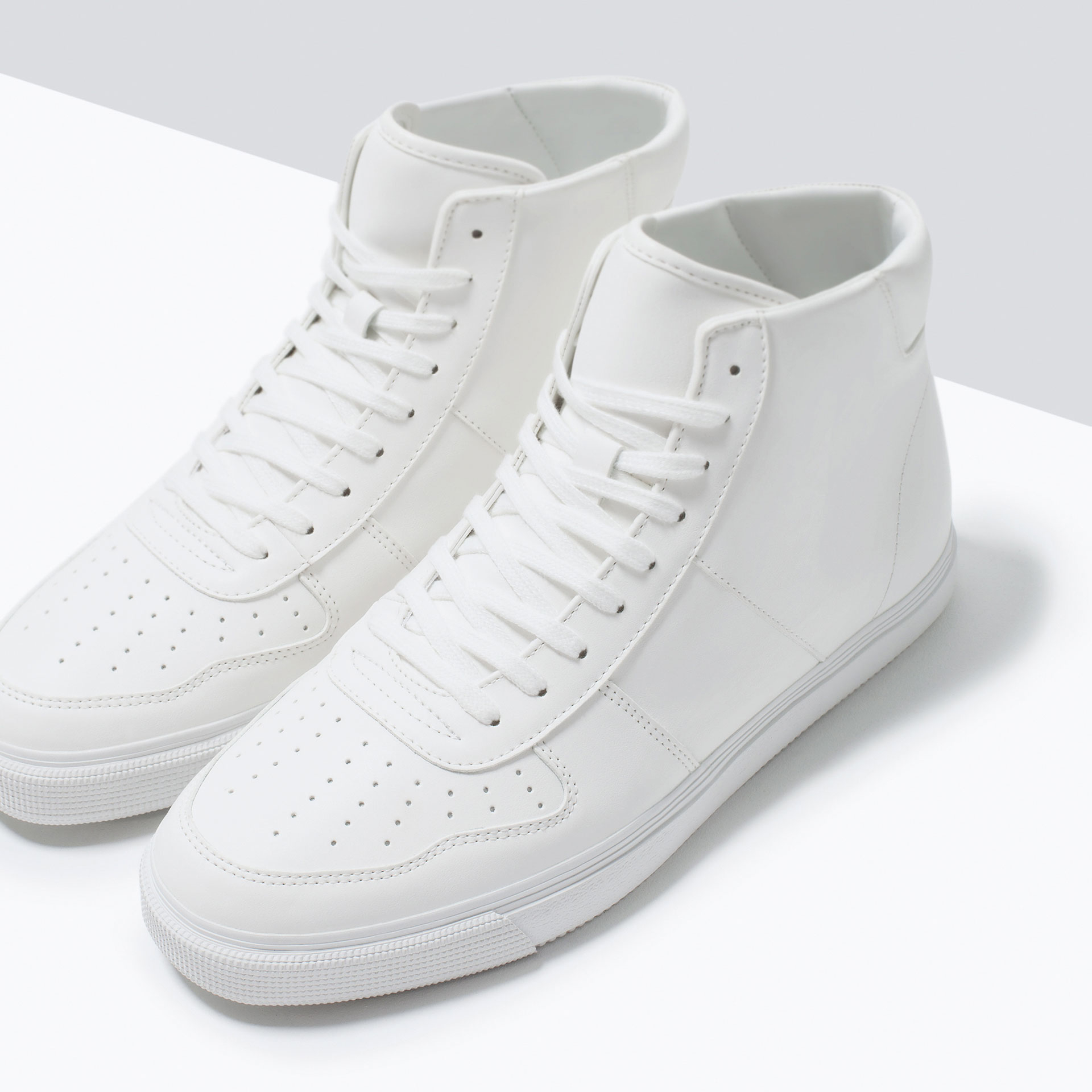 zara topstitched high top shoes in white for lyst