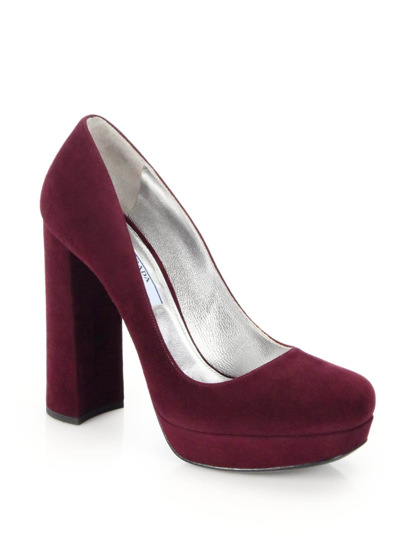 Prada suede platform square toe pumps in red lyst