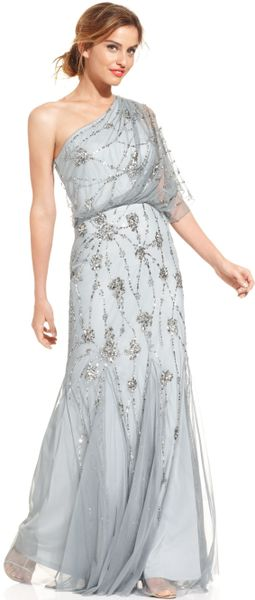 Snap Adrianna Papell Gown One Shoulder Blouson with Beaded Mesh in ...