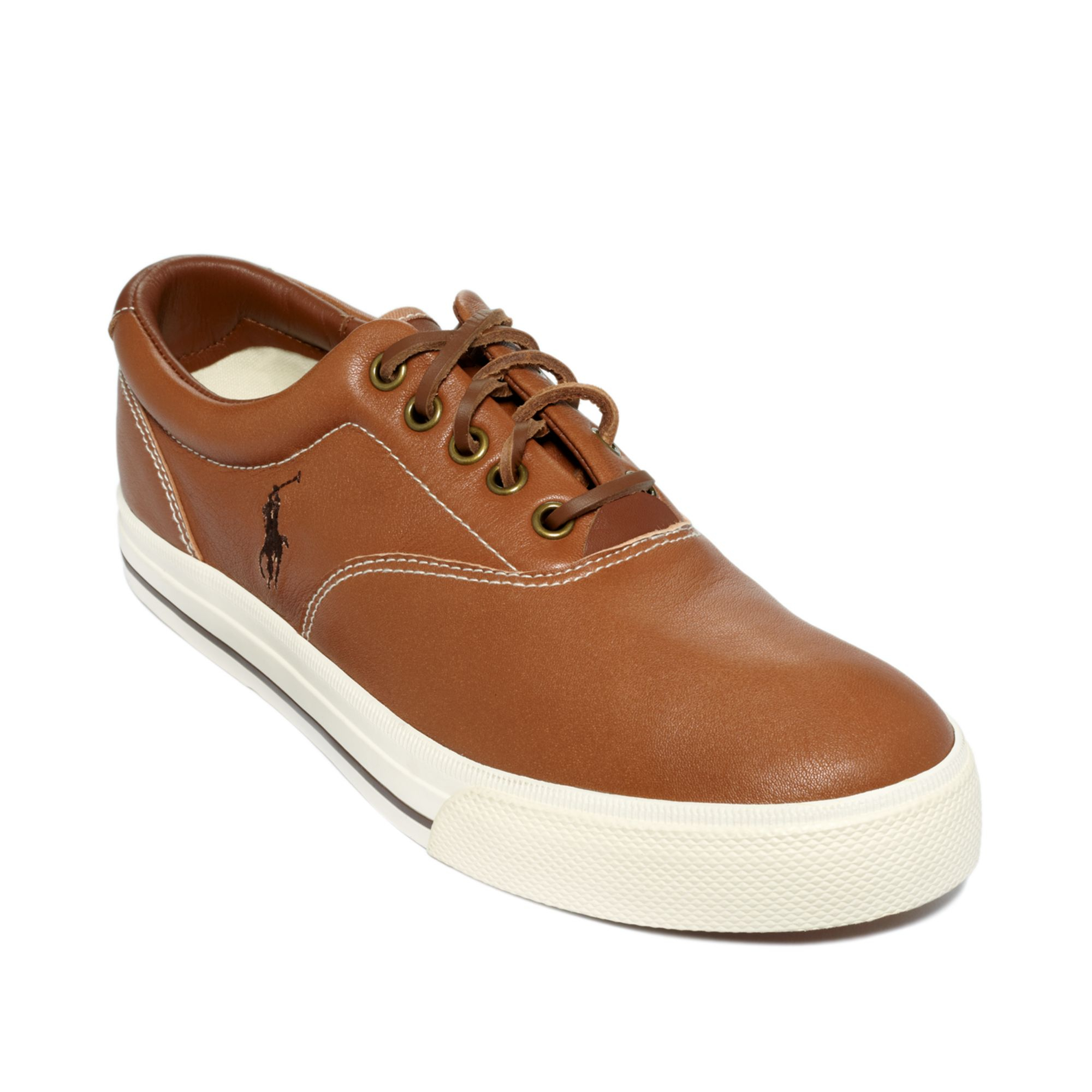 polo ralph lauren vaughn leather sneakers in brown for men tan. Black Bedroom Furniture Sets. Home Design Ideas