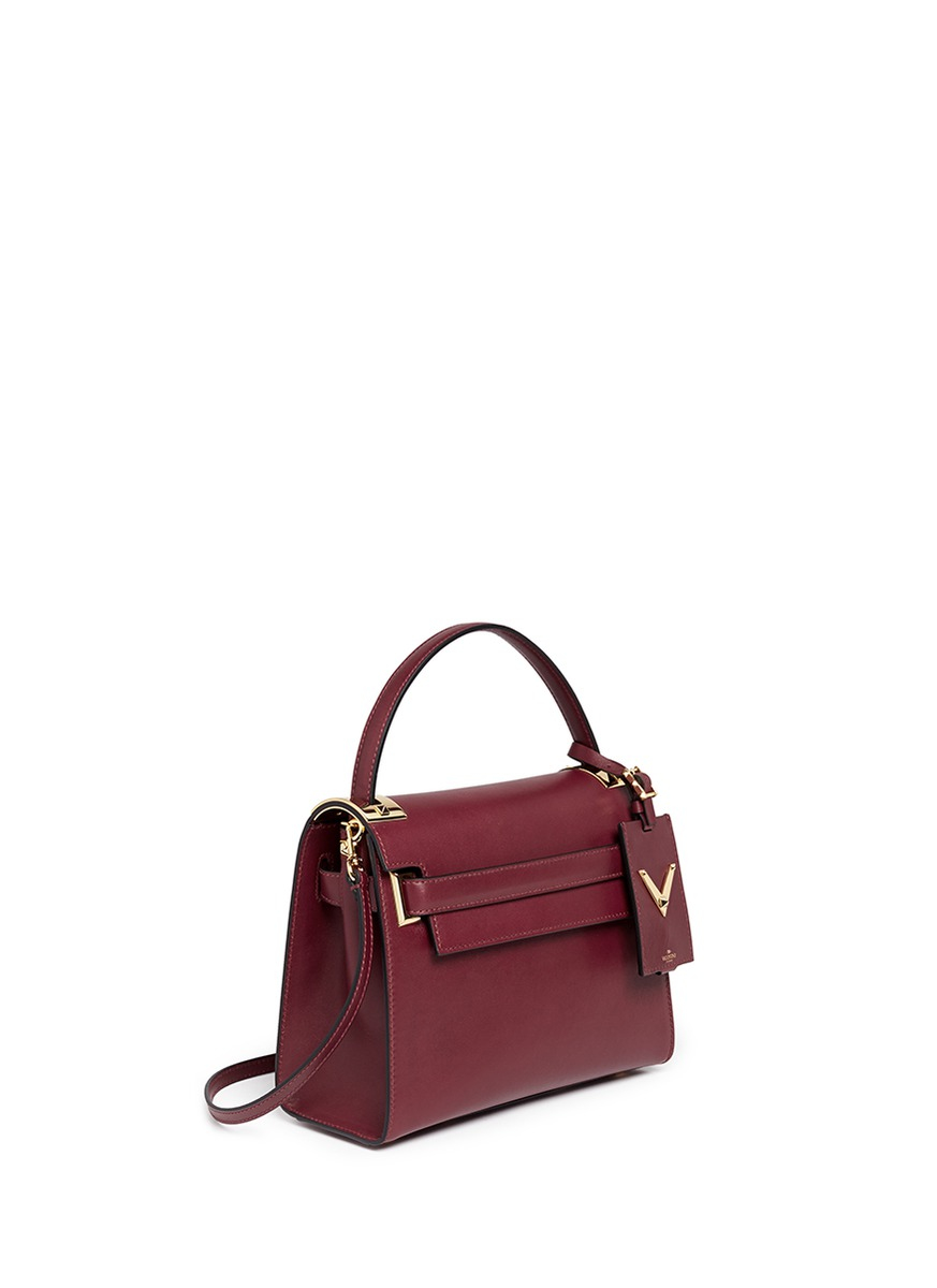 Valentino My Rockstud Small Top Handle Leather Bag In