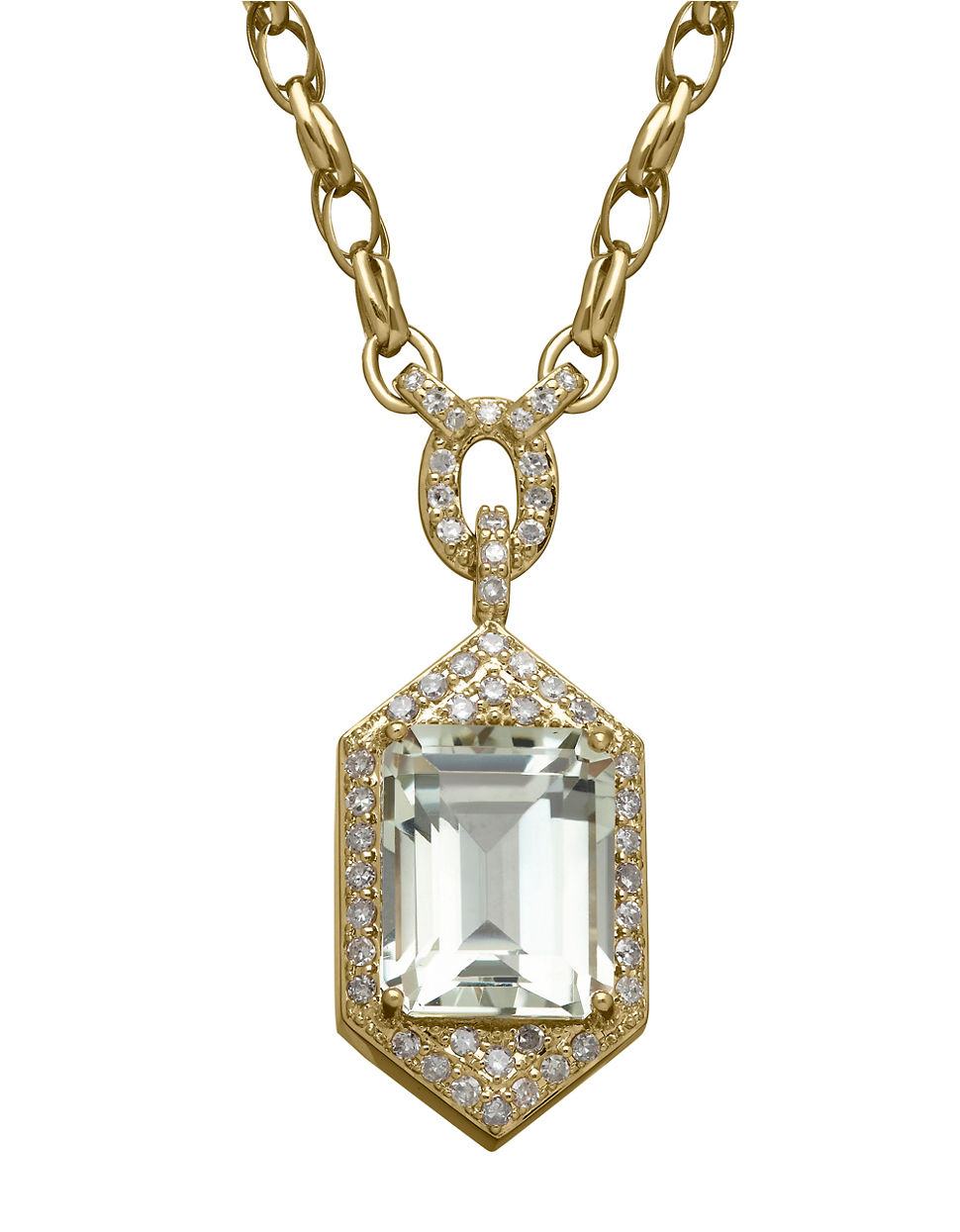 Lord & taylor 14k Yellow Gold Green Amethyst And Diamond ...