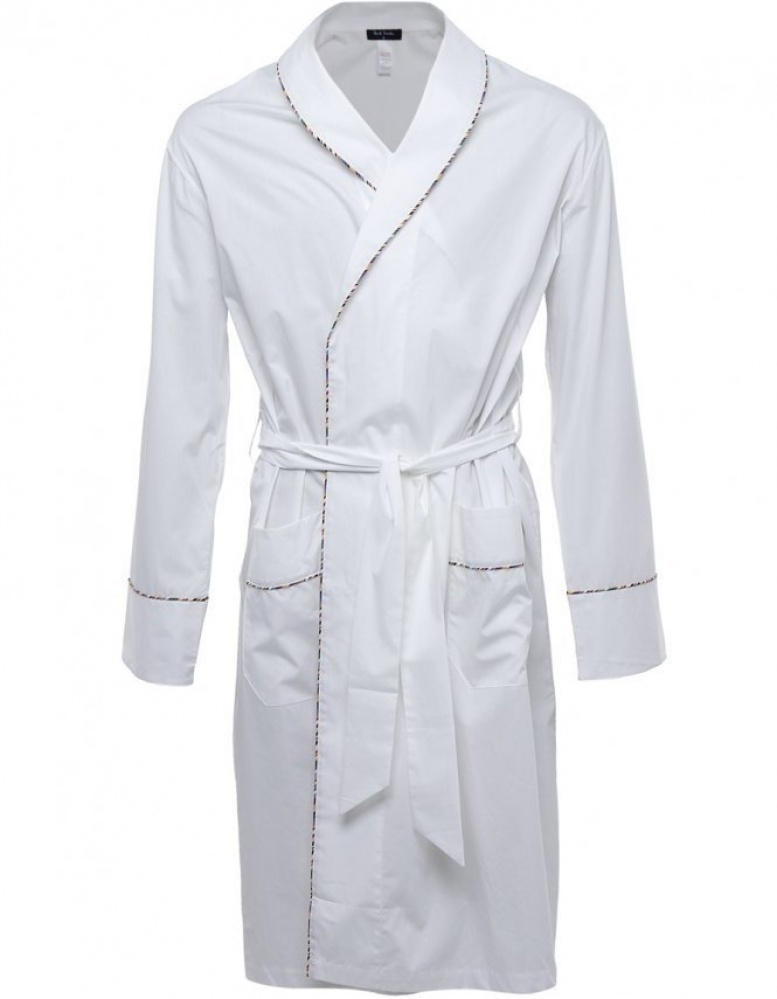 59c4e0ce0ffaf Paul Smith Multi Stripe Piping Dressing Gown in White for Men - Lyst