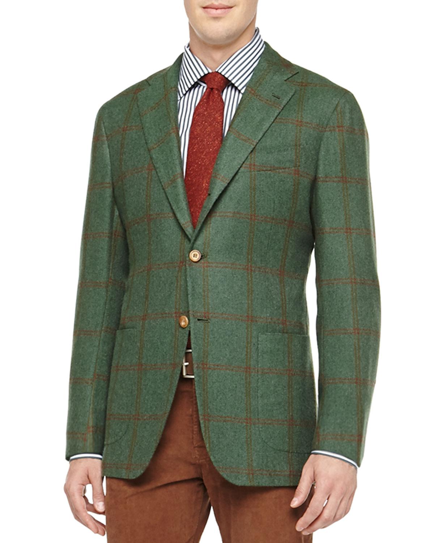 Kiton Windowpane Three-button Jacket for Men