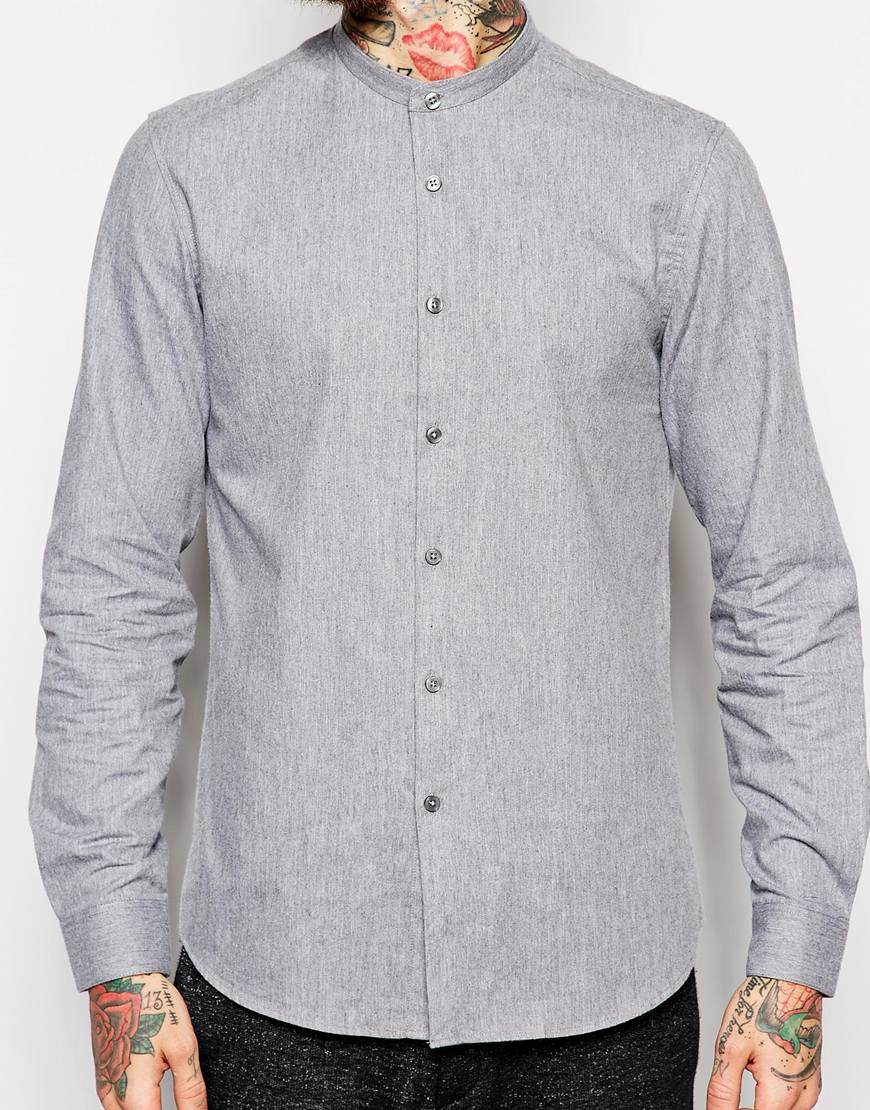 Asos Smart Shirt In Long Sleeve With Warm Handle Twill And