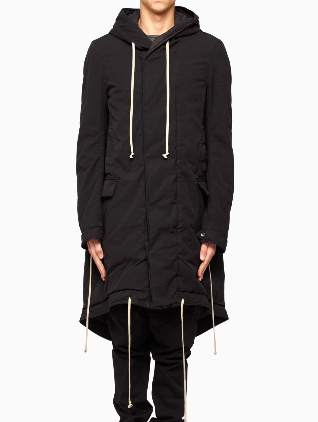 Drkshdw by rick owens Fishtail Parka in Black for Men | Lyst