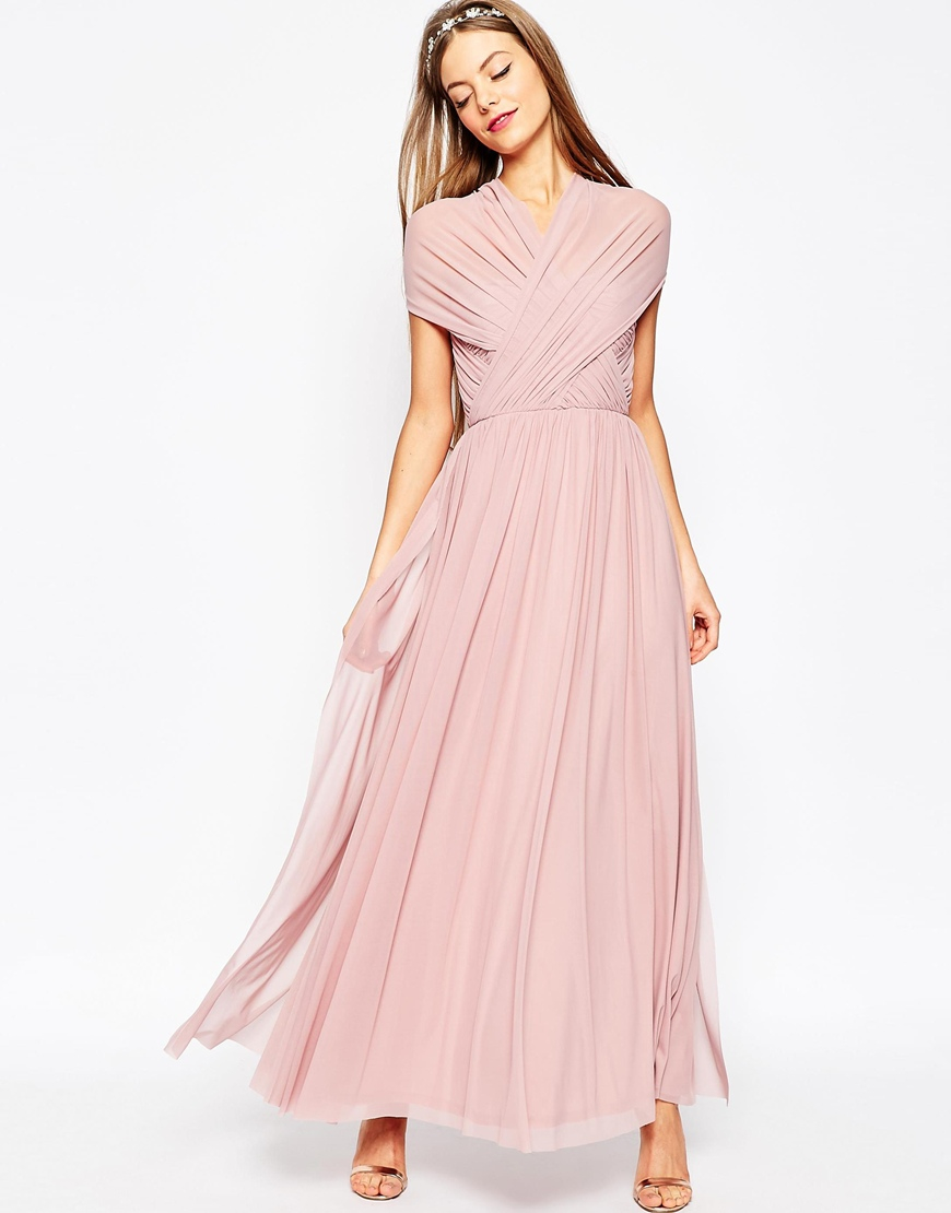 2acb6d0aaa ASOS Wedding Multiway Mesh Maxi Dress in Pink - Lyst