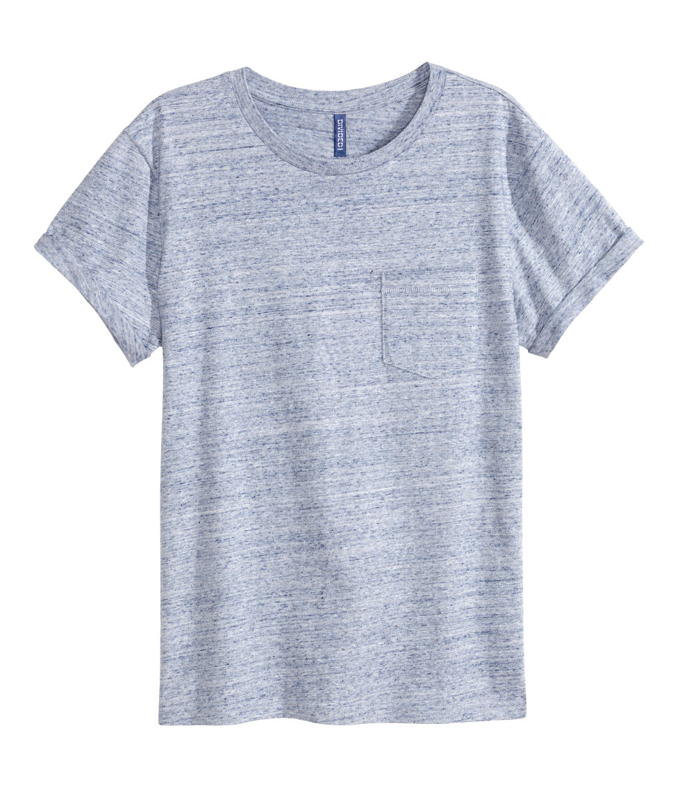 H&m T-shirt With A Chest Pocket in Blue for Men