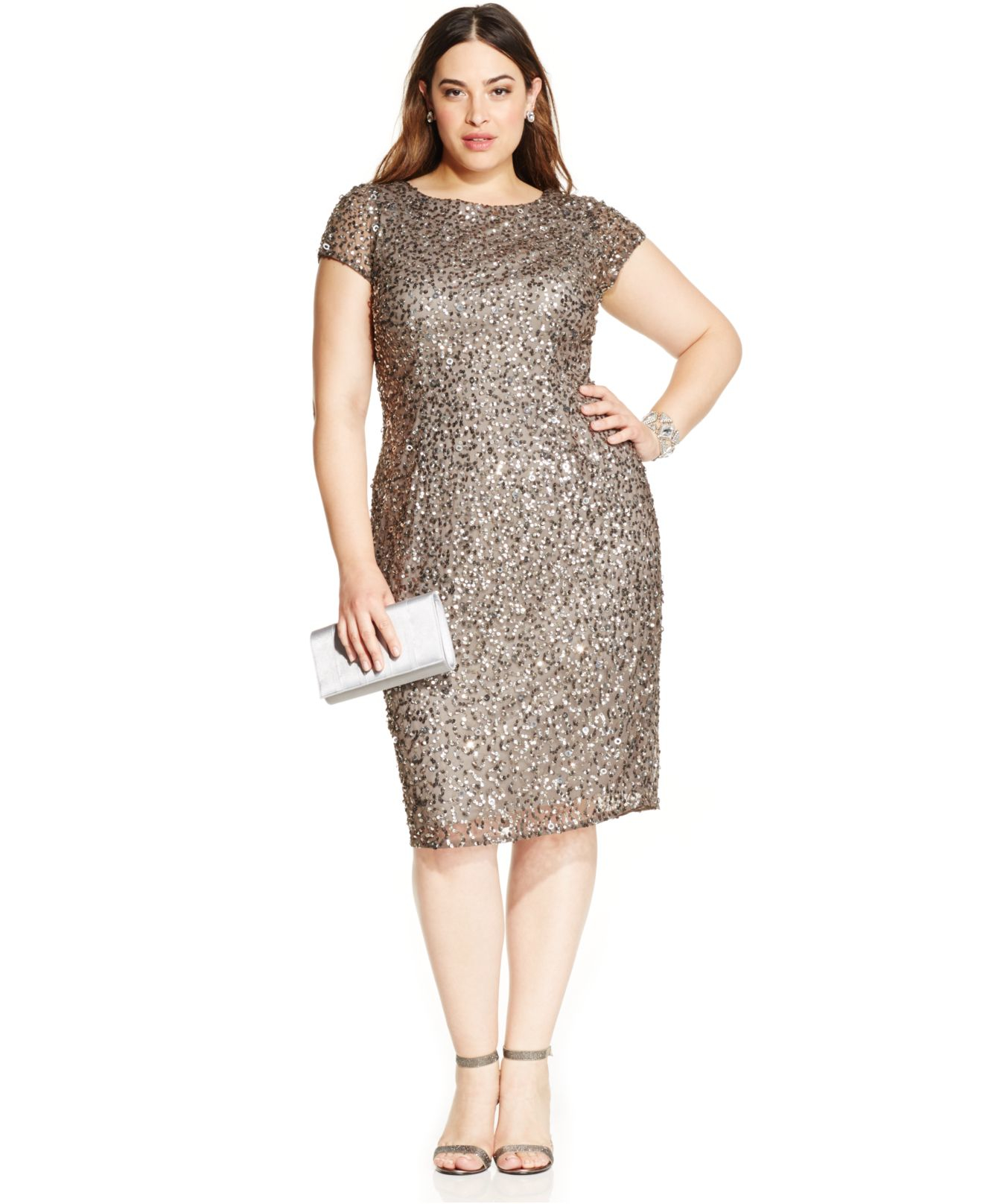 Adrianna papell Plus Size Sequined Scoop-back Dress in ...