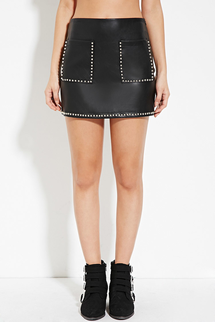 Silver Leather Skirt River Island