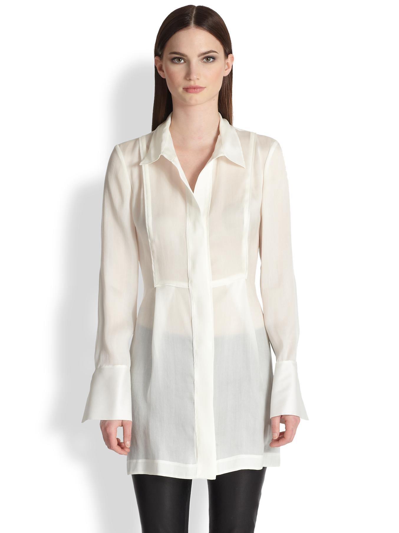 Donna Karan Silk Organza Tunic Blouse 41