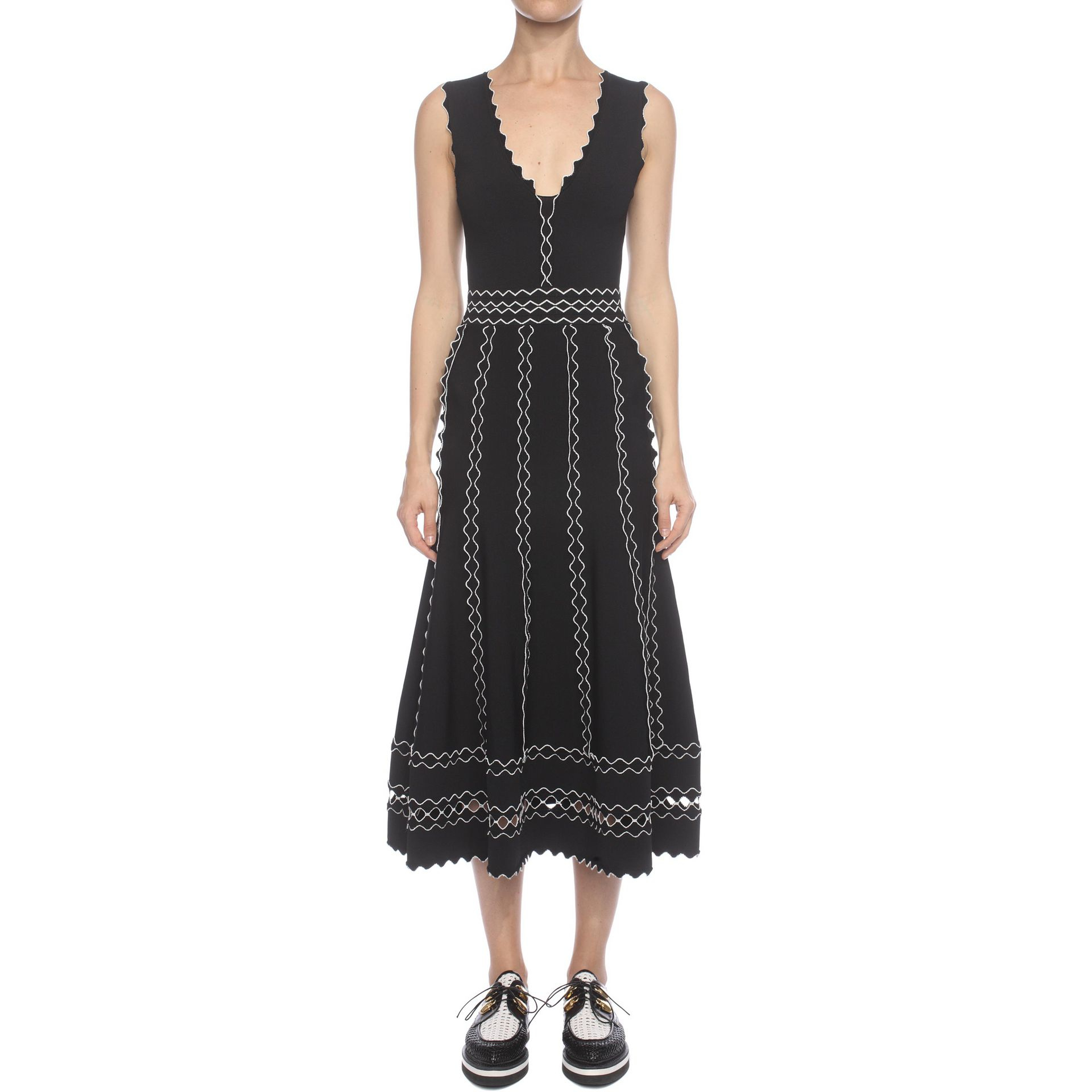 Alexander Mcqueen Lace Long Flute Sleeveless Dress In
