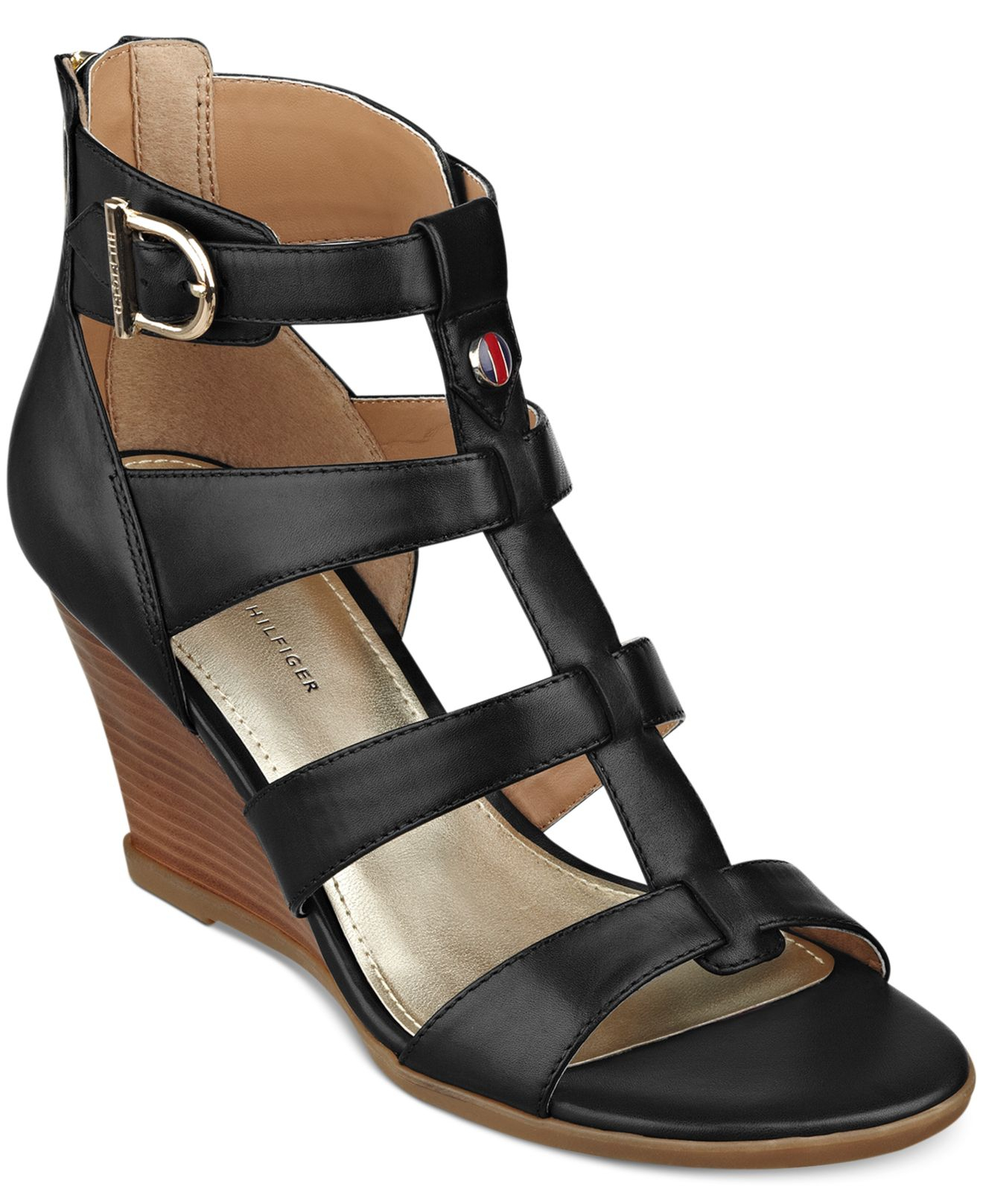 838250b0ddb9e1 Lyst - Tommy Hilfiger Osiana Wedge Sandals in Black