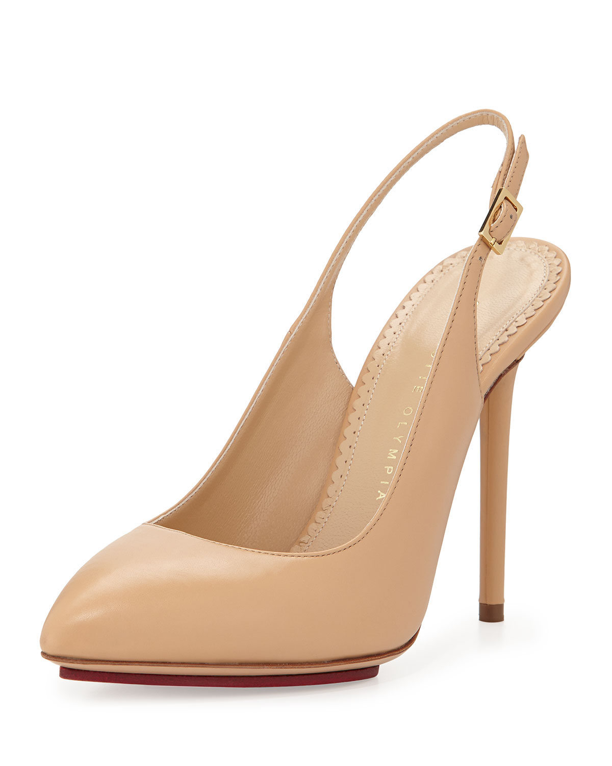 charlotte olympia monroe leather slingback pump in beige nude lyst. Black Bedroom Furniture Sets. Home Design Ideas