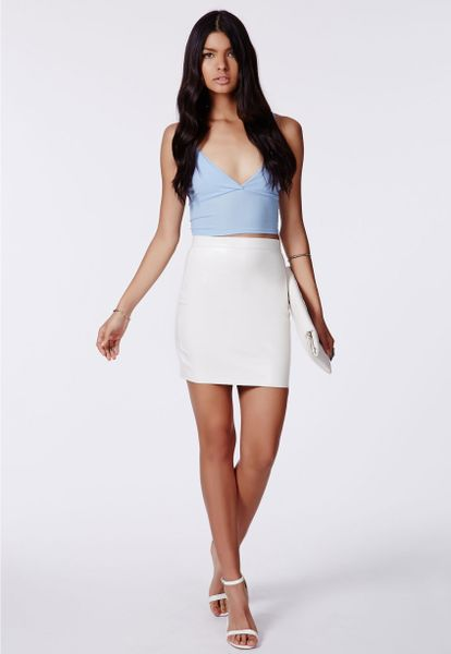 missguided rica faux leather bodycon mini skirt in white