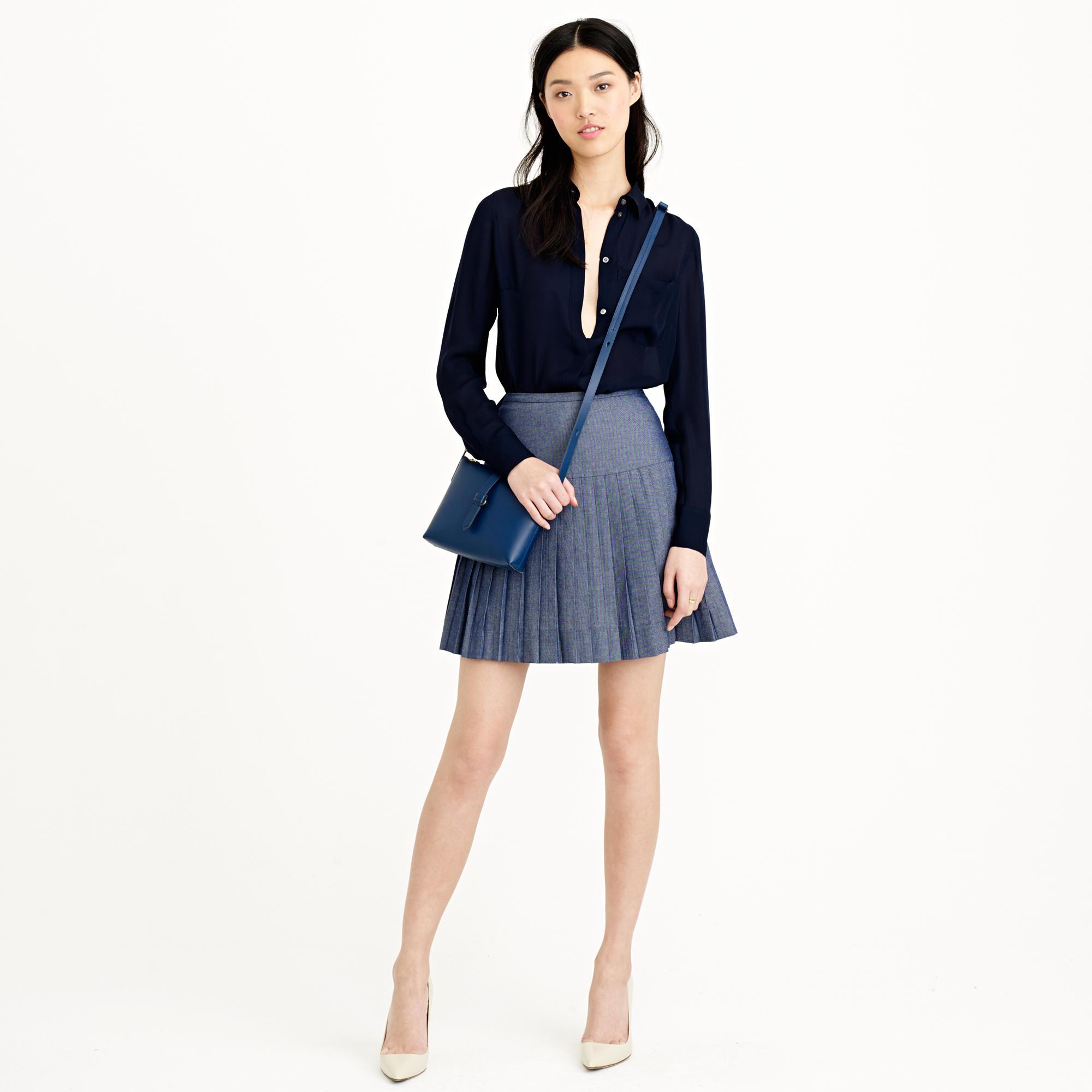 j crew chambray pleated mini skirt in blue lyst