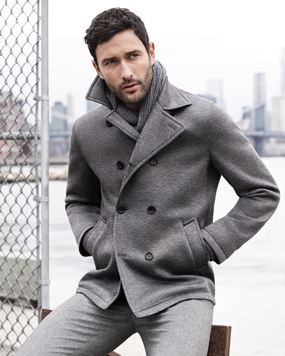 Vince Heather Neoprene Peacoat in Gray for Men | Lyst
