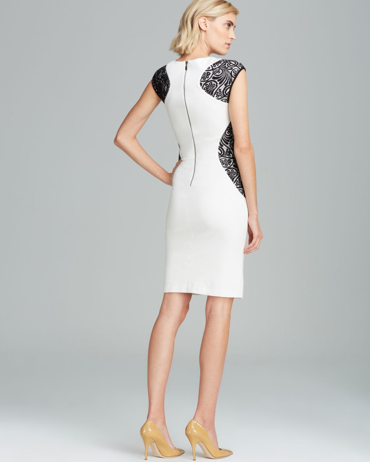 b56463b6 Laundry by Shelli Segal Color Block Lace Ponte Sheath Dress in White ...
