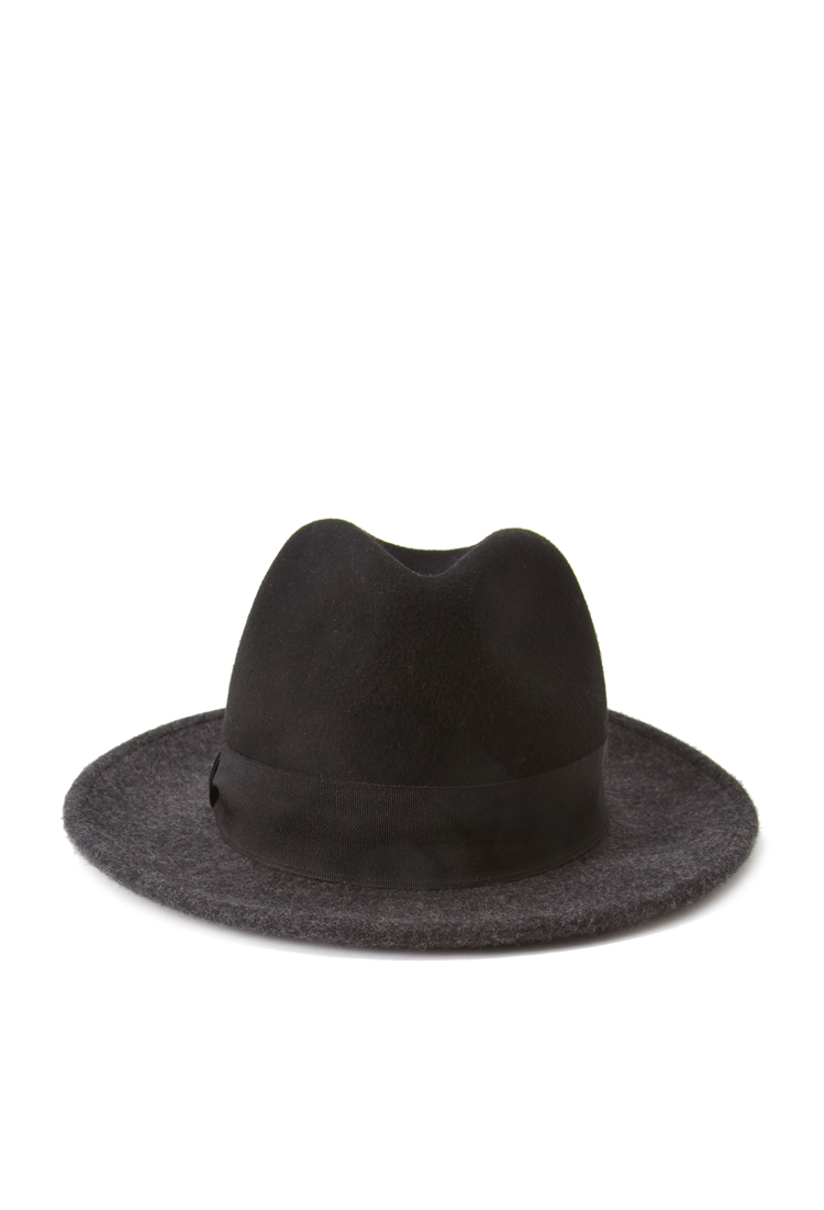 Lyst - Forever 21 Colorblock Wool Fedora Hat in Black 77078e7f842