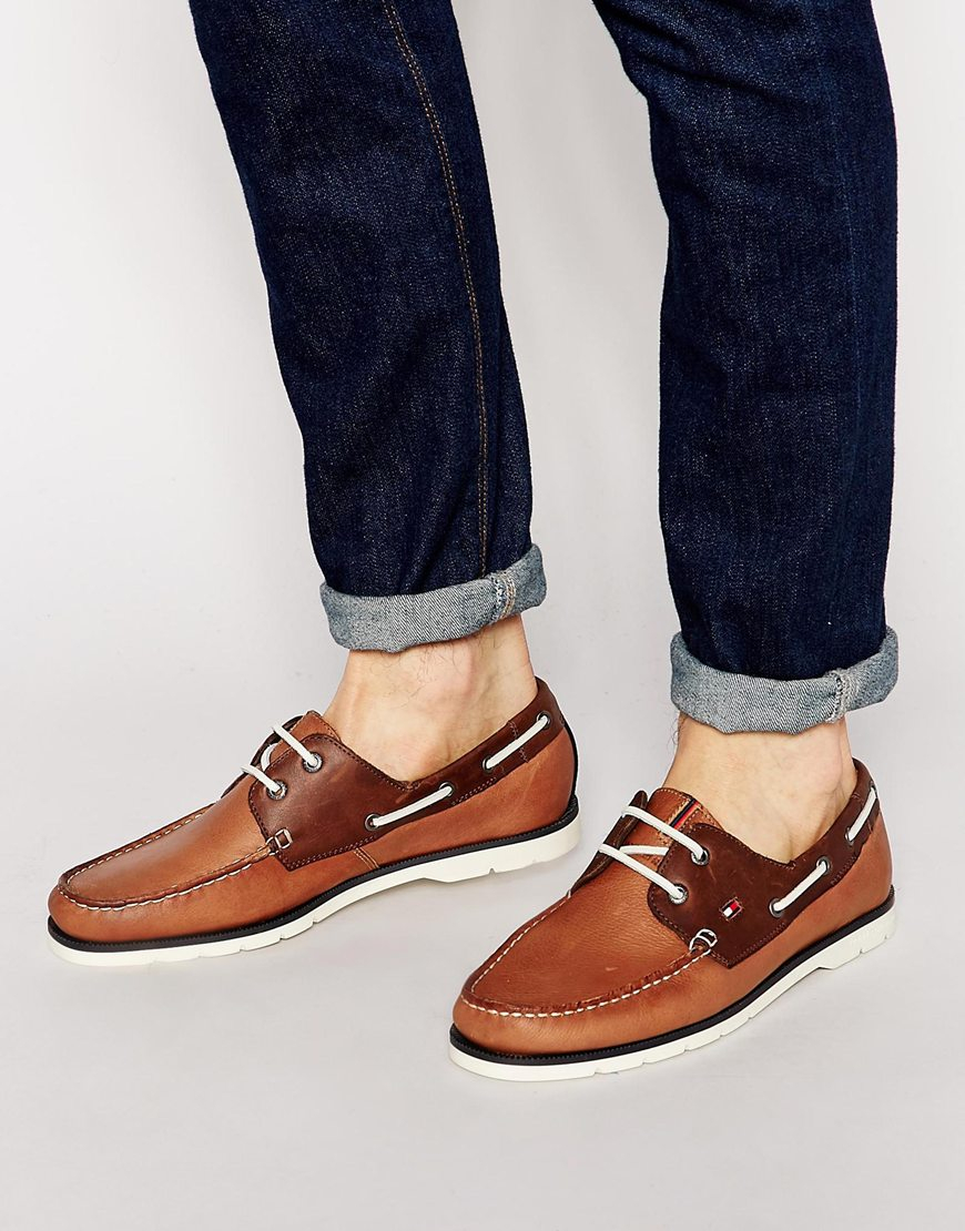 9a8b5062b22b Lyst - Tommy Hilfiger Nubuck Leather Boat Shoes in Brown for Men