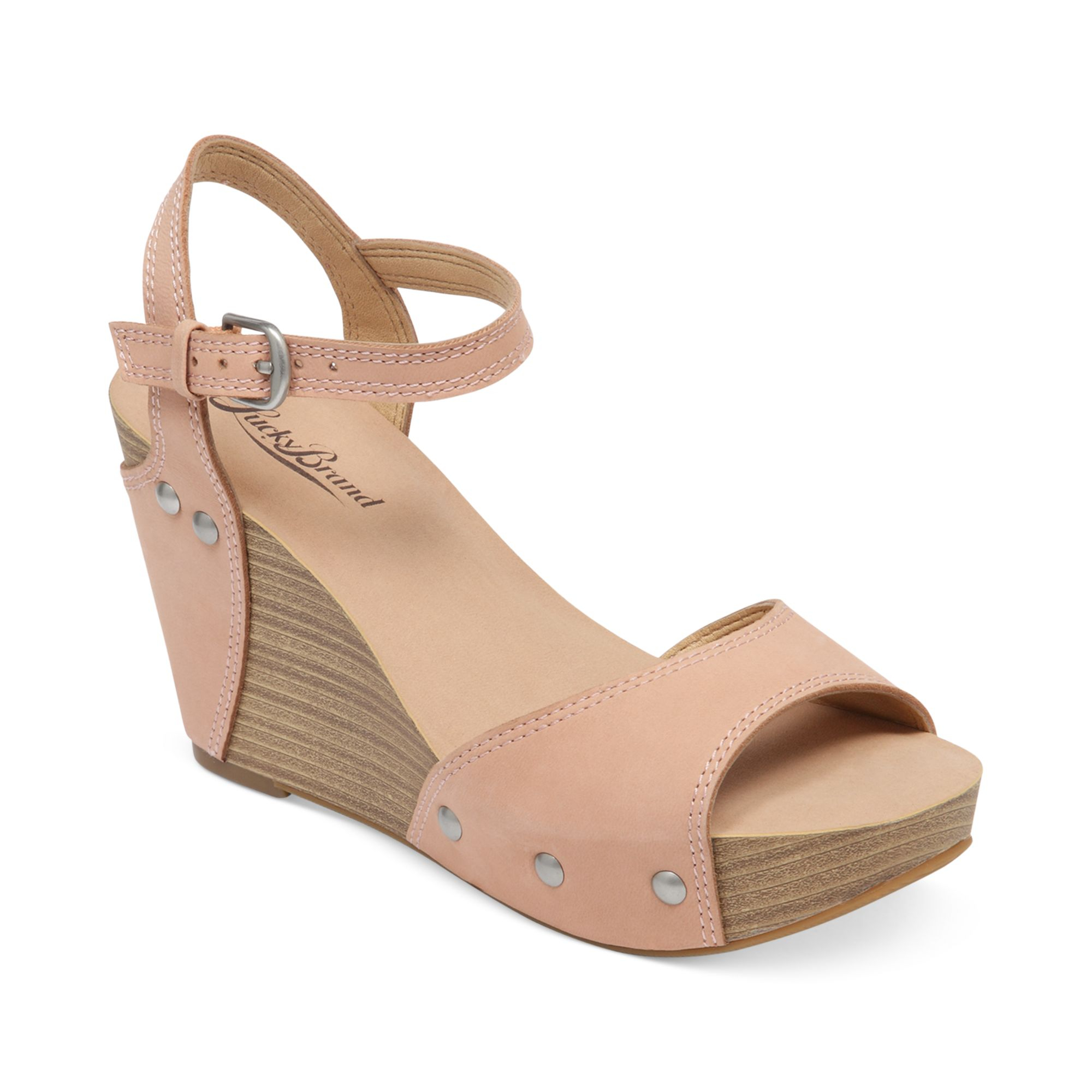 Lucky Brand Marshha Platform Wedge Sandals In Beige (Blush) | Lyst