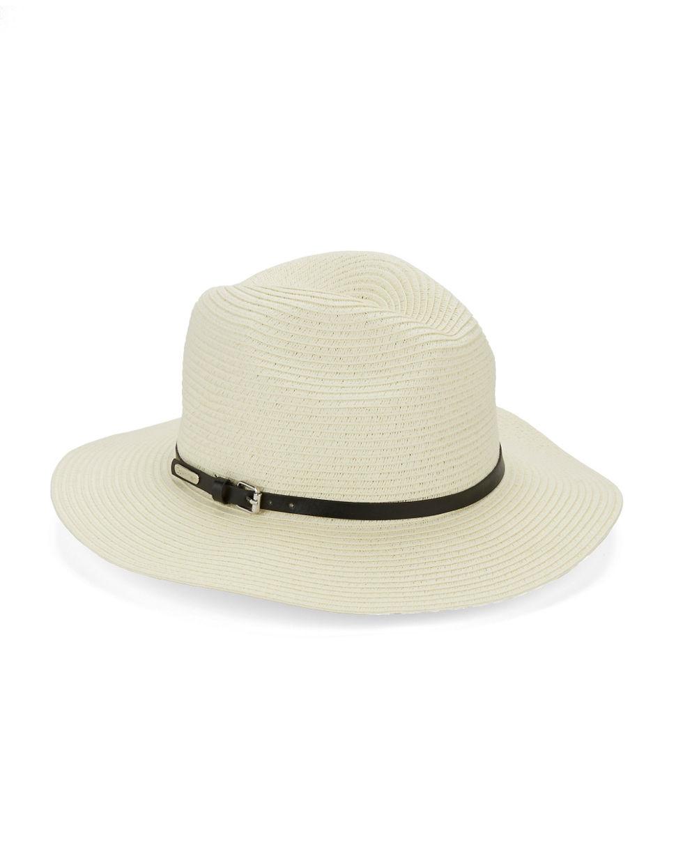 calvin klein woven panama hat in white lyst