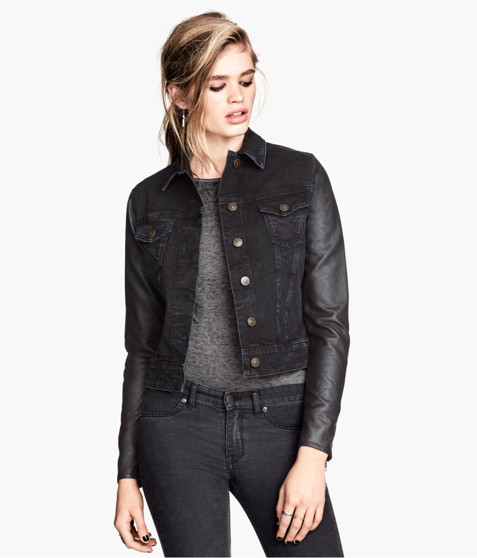 H M Denim Jacket In Black Lyst