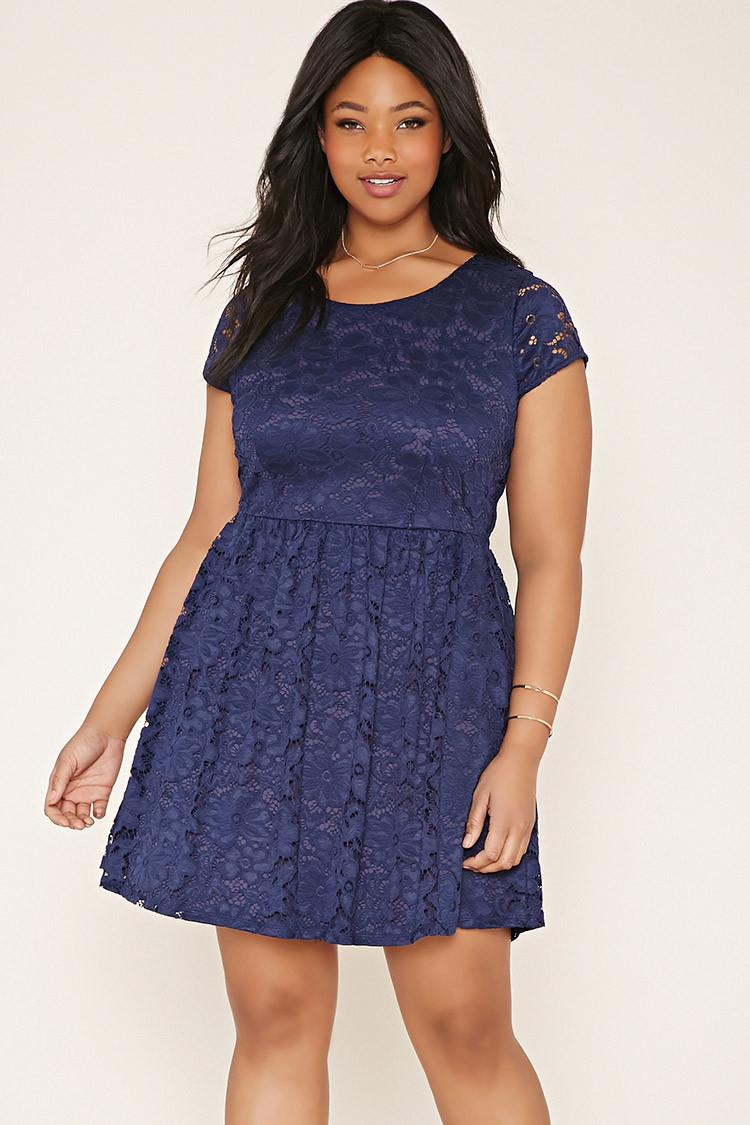 Navy blue lace dress plus size