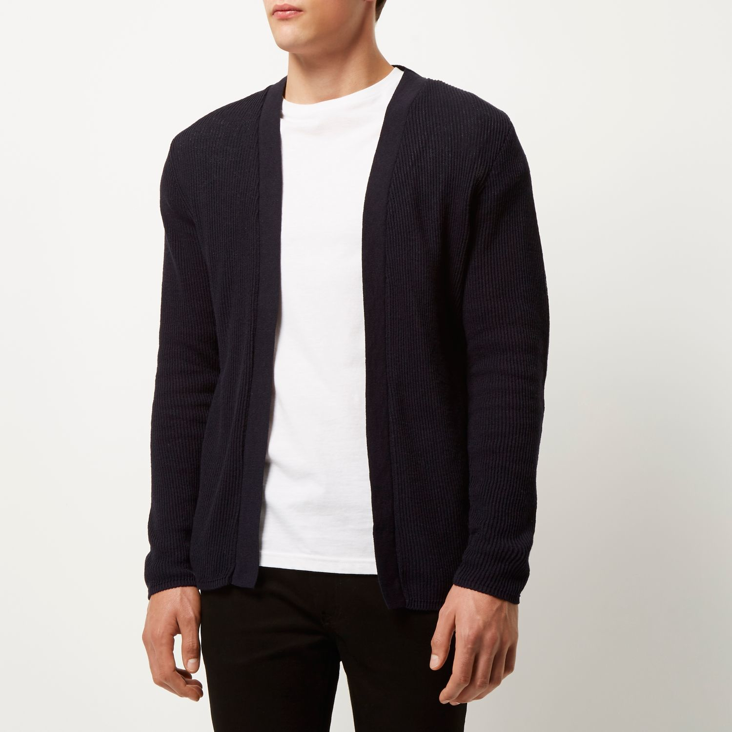 River island Navy Open Front Cardigan in Blue for Men | Lyst