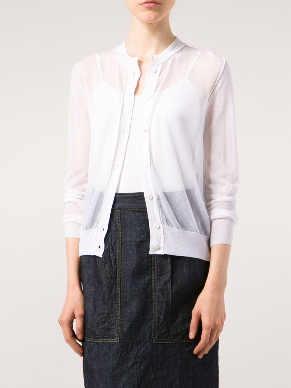 Vanessa bruno Sheer Cardigan in White | Lyst