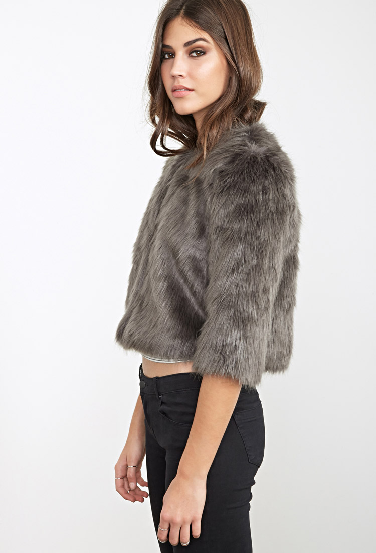 Little Mistress Black and White Cropped Faux Fur Jacket