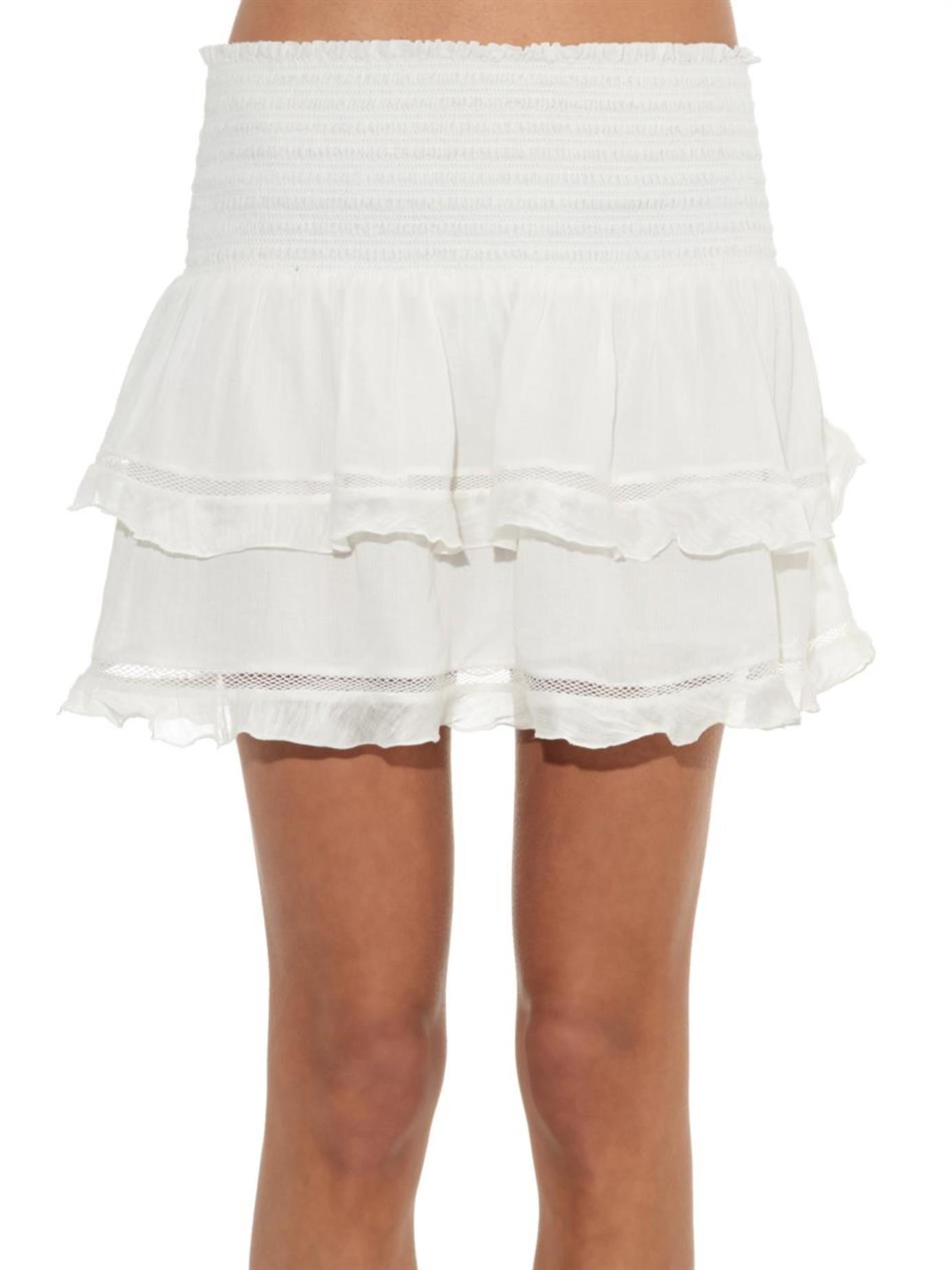 7883f09dc Étoile Isabel Marant Connie Ruffled Cotton-blend Mini Skirt in White ...