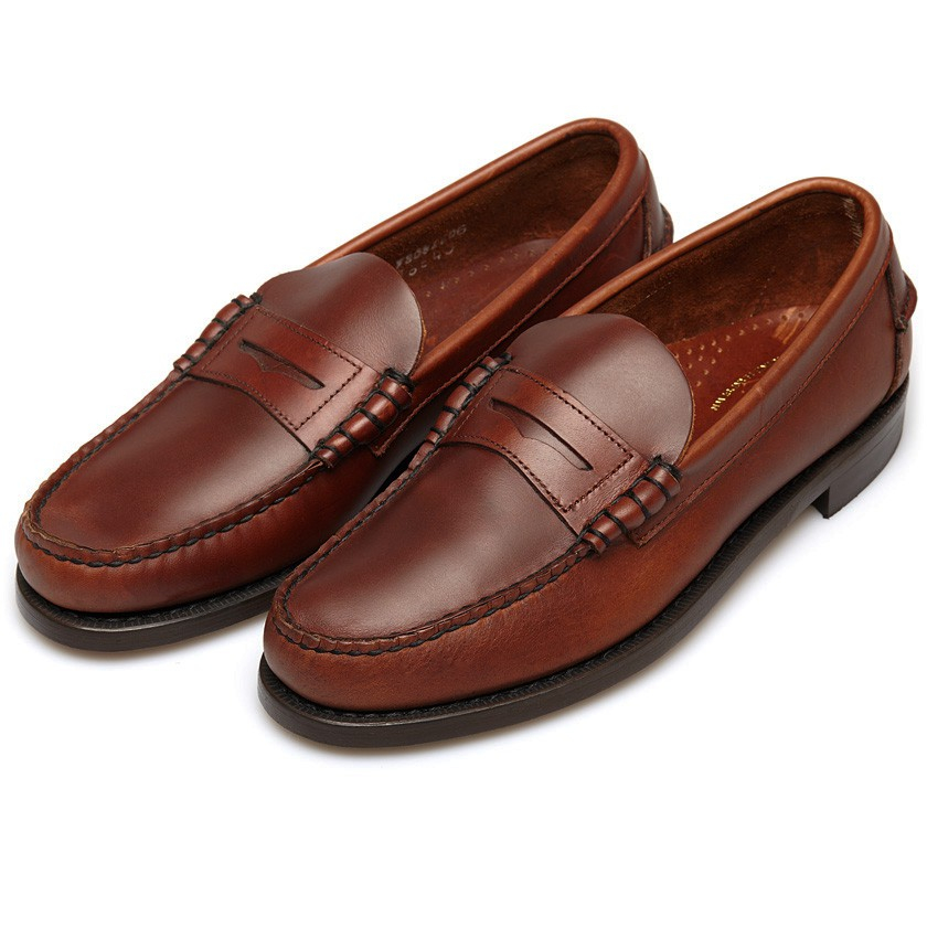 Sebago Classic Brown Leather Penny Loafers In Brown For